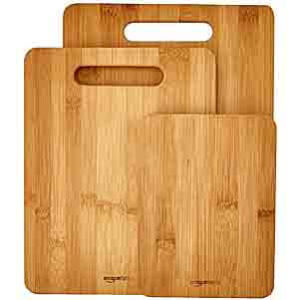 AmazonBasics 3-Piece Bamboo Cutting Board Set