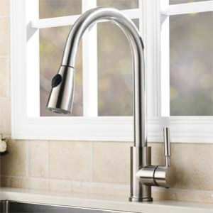 VAPSINT Stainless Steel Single Handle Pullout Kitchen Sink Faucet