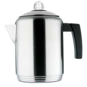 Copco Brushed Polished Stainless Steel Stovetop Percolator
