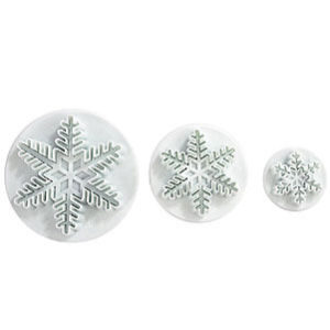 LIHAO Set of 3 Snowflake Fondant Cutters Cake Decorating Mold