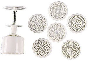 Zicome Round Moon Cake Mold with 6 Stamps