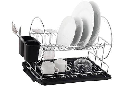 Deluxe Chrome-plated Steel 2-Tier Dish Rack