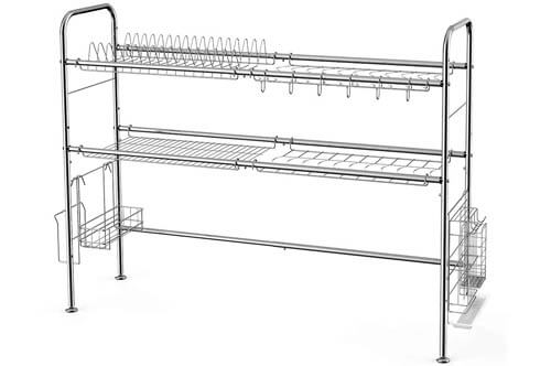 NEX 2-Tier Stainless Steel Dish Rack Nonslip Height Adjustable