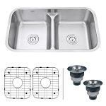 Ruvati 32-inch Low-Divide Double Bowl Undermount 16 Gauge Stainless Steel Kitchen Sink-min