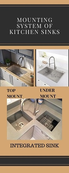 Types of Kitchen Sinks based on Mounting