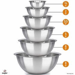 Sagler Polished Mirror kitchen bowls Set of 6