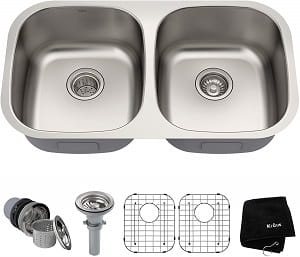 Kraus KBU22 32 Inch Under Mount Double Bowl Sink