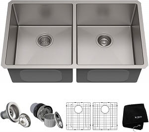 Kraus Standart PRO 33-inch 16 Gauge Undermount Double Bowl Stainless Steel Kitchen Sink